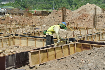 One Construction Workers Installing Formwork