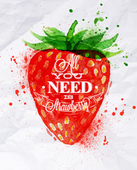 Poster watercolor strawberry