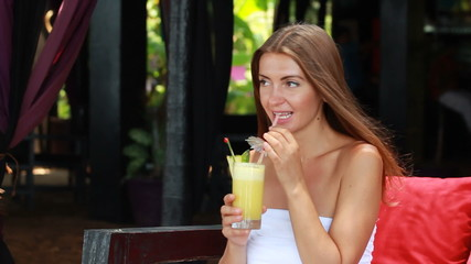 Woman enjoying a cocktail