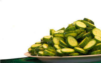 Plate of cucumber slice.