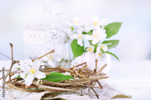 Beautiful spring composition with jasmine flowers