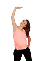 Beautiful pregnant woman doing stretching