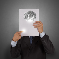 businessman hand show book of 3d metal brain as concept