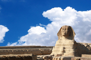 Famouse Sphinx under evening clouds, Cairo, Egypt
