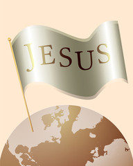 Jesus Name on Flag over the Earth