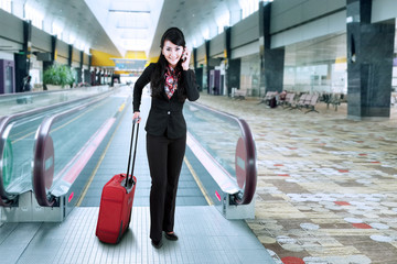 Businesswoman at the international airport