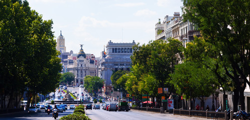 Calle de Alcala from Plaza Independencia. Madrid, Spain