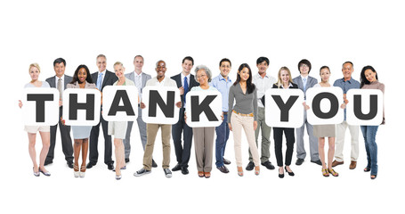 Multi-Ethnic Group Of Diverse People Holding Thank You