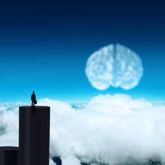 silhouette businessman looking to brain as cloud icon concept