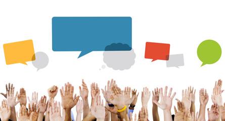 Multiethnic Hands Raised with Speech Bubbles
