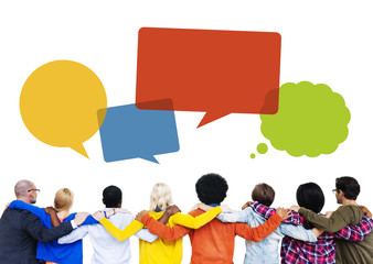 Group of People Hands on Shoulders and Speech Bubbles