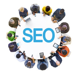 Group of People and SEO Concept