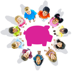 Multi-Ethnic Group of Children and Savings Concepts