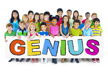 Group of Children with Genius Concept