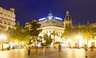city street in night. Valencia, Spain