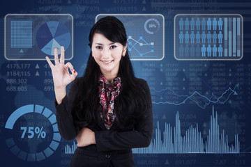 Businesswoman showing OK gesture 1