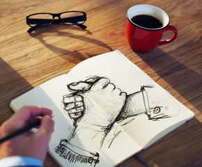 Man with a Note Pad and Togetherness Concepts