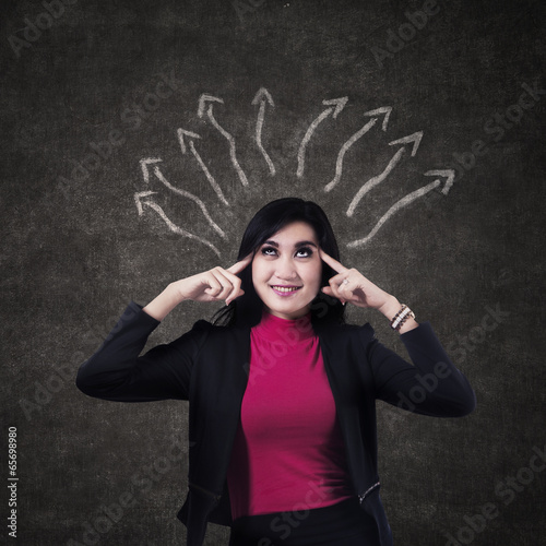 Businesswoman thinking a solution
