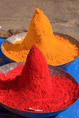 Colored colorful powder kumkum on Indian bazaar