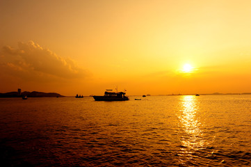 Ship at Silhouette Sunset