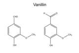 Chemical formula of vanillin molecule (flavor enhancer) poster