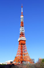 Tokyo tower with bright sunny day