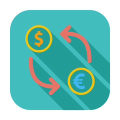 Currency exchange single flat icon.