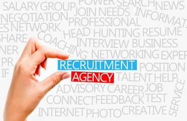 Recruitment agency concept with popular words from this industry
