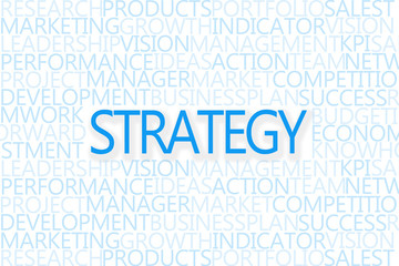 Strategy and vision concept with popular words from business lan