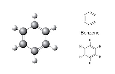 Structural formulas and chemical model of benzene molecule
