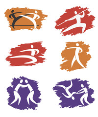 Asian Martial Arts grunge icons