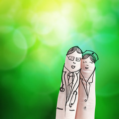 lovely couple hand drawn and finger,doctor and nurse with green