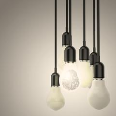 3d metal human brain inside l light bulb  as leadership concept