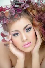 Beautiful makeup face art skin pink mouth shoe hands,hair