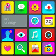 Flat UI design trend multicolored set icons