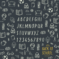 Schools hands draw chalk written font