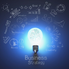 3d metal brain inside light bulb and drawing business strategy a