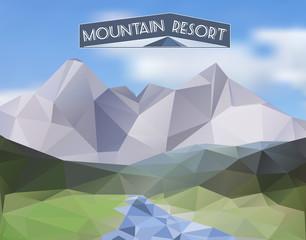 Mountain landscape - polygonal illustration