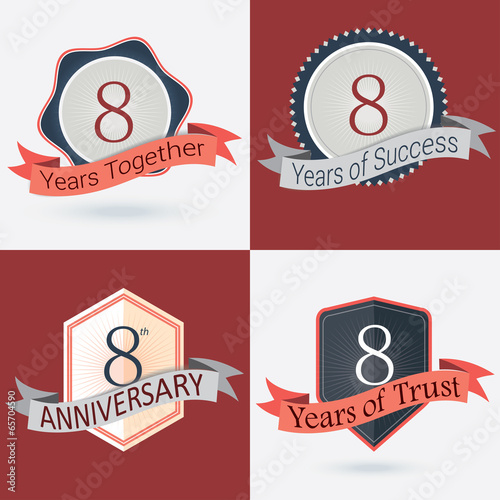 Set of Retro vector Stamps/Seal for 8th business anniversary .