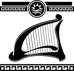 ancient harp. stencil. vector illustration