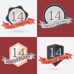 Set of Retro vector Stamps/Seal for 14th business anniversary .