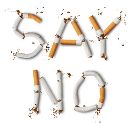 Text ''say no'' made from broken cigarettes