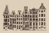 Kamienice w Amsterdamie, rysunek w stylu retro