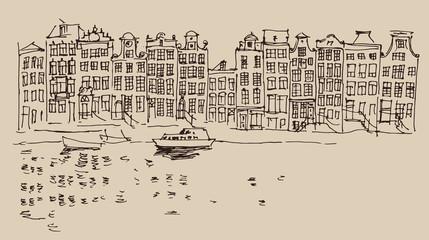 Amsterdam, city architecture, vintage engraved illustration