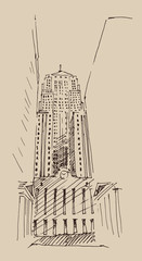 skyscraper, city engraving vector illustration, hand drawn