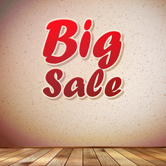Beige wall wooden floor with Big sale frame.