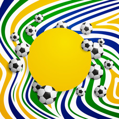 Vector Illustration of a Soccer Background with Brazil Colors