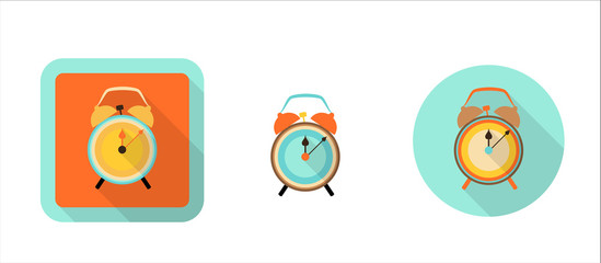 alarm clock, simple retro icon in flat style