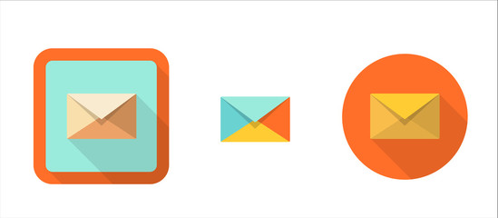 envelope, simple retro icon in flat style