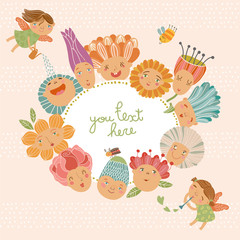 Floral background with cute fairies